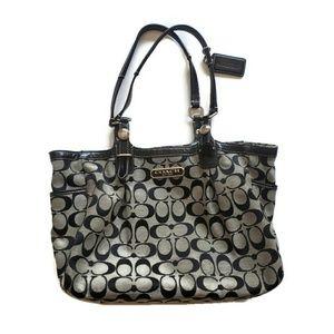 Coach C Pattern Black Cloth Hand Bag Purse H1076